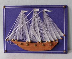 70s String Art Boat Nautical Boys Room by ladyjanecollections