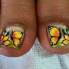 Deco Pedicure Designs, Pedicure Nail Art, Toe Nail Designs, Nail Polish Designs, Toe Nail Art, Nails & Co, Hair And Nails, My Nails, Pretty Toe Nails