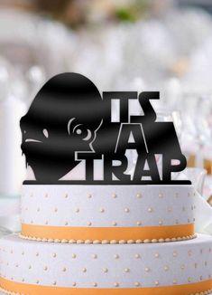 Star Wars Admiral Akbar Its A Trap! Simple Elegant Wedding, Elegant Wedding Cakes, Cool Wedding Cakes, Party Wedding, Wedding Ideas, Star Wars Wedding Cake, Wedding Cake Toppers, Bachelor Party Cakes, Star Wars Cake Toppers