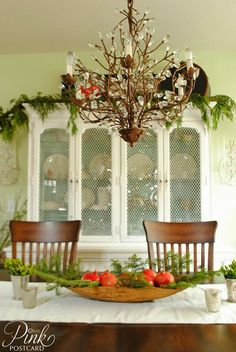 *Pink Postcard*-Christmas dining room- shabby chic- natural decor- vintage