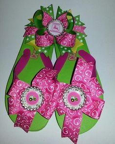 John Deere flip flops and matching hairbow Journeys bows ..Facebook
