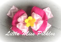 Pink chevron bow  Little Miss Pickles Www.facebook.com/littlemisspickles13