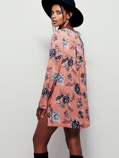 Heart Beat Printed Tunic | Swingy printed tunic with strappy V-neck and bell sleeves.