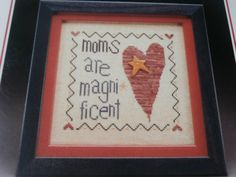 """Unframed, Handmade, """"Wee Mom"""" Cross Stitch for Mother's Day- Mother's Day, Gifts for Mom, Mom, Heart, Star Button"""