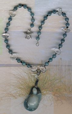 Endangered  Carved Amazonite Sea Turtle Pendant by ChicStatements, $90.00