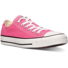Converse Unisex Chuck Taylor Ox Casual Sneakers from Finish Line ($28) ❤ liked on Polyvore featuring shoes, sneakers, pink paper, lined shoes, pink shoes, vintage sneakers, converse shoes and vintage shoes