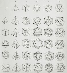 geometric shapes / illustration / line drawing Design Graphique, Art Graphique, Geometric Designs, Geometric Art, Geometric Solids, Geometric Tattoos, Geometric Patterns, Geometric Shapes Drawing, Origami Patterns