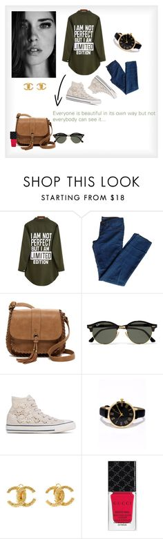 """Be limited..."" by lisaetrose ❤ liked on Polyvore featuring J Brand, T-shirt & Jeans, Ray-Ban, Converse, LULUS, Chanel and Gucci"