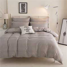 Cotton Bedding Set Queen Size King Size Bedclothes with Duvet Cover Bed Sheet Set Wedding Bedding Sheets Strip Bed Linen Double Bedding Sets, Best Bedding Sets, Queen Bedding Sets, Duvet Sets, Duvet Cover Sets, Bed Covers, Bed Sets, Bed Sheet Sets, Plaid Bedding