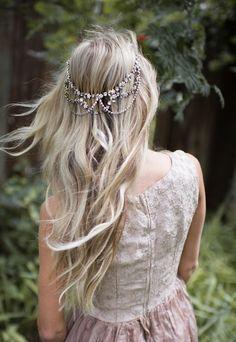 Bronze Boho Wedding Headpiece draped hair chain by LottieDaDesigns