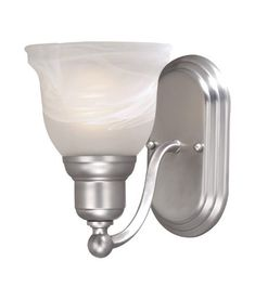 Lasalle Wall Sconce Finish: Brushed Nickel by Vaxcel. $31.14. LS-VLU101BN Finish: Brushed Nickel Features: -One vanity light.-Alabaster glass. Color/Finish: -Parisian bronze or brushed nickel finish. Specifications: -Accommodates (1) 100W medium base bulb (not included). Dimensions: -Overall dimensions: 8.63'' H x 6'' W x 8.25'' D. Collection: -LaSalle Collection.