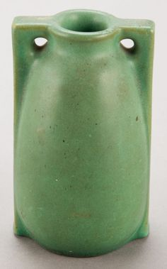 A TECO GREEN GLAZED ART POTTERY VASE   Circa 1910