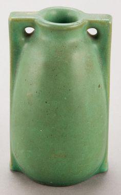A TECO GREEN GLAZED ART POTTERY VASE   Circa 1910