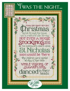 Twas The Night Before Christmas cross stitch chart Sue Hillis Design - Cross Stitch Patterns