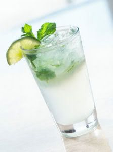 Skinnytaste Cuban Mojito (2 weight watchers points): 1.5 oz rum, 12 mint leaves, 1/2 lime, 7 oz sprite zero or club soda, 2 tbsp splenda. In tall glass, muddle mint, splenda & lime. Add crushed ice, rum, soda. Stir well.