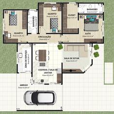 plantinha humanizada e fachada encantadoras 😻😻 New House Plans, Dream House Plans, Small House Plans, House Floor Plans, Minimalist House Design, Small House Design, Minimalist Home, Apartment Floor Plans, Contemporary House Plans