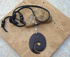 Oval KoruStyle Fish Hook Necklace  Unisex by KipajiPraiseJewelry