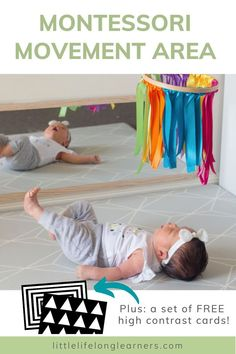 Aug 23, 2020 - Learn how we set up a gorgeous newborn movement area for our new baby. Download a FREE set of high contrast cards perfect for your newborn! Child Development Activities, Infant Activities, Baby Sensory Play, Sensory Toys, Newborn Toys, Newborns, Diy Montessori Toys, Baby Play Areas, High Contrast Images