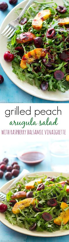This pretty arugula summer salad is loaded to the max with sweet grilled peach wedges, juicy cherries and the most amazing raspberry balsamic dressing ever! @WholeHeavenly