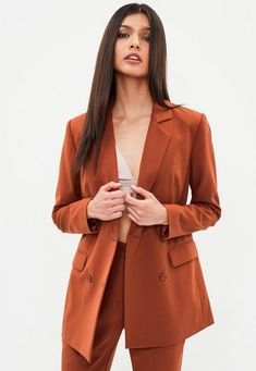 Orange Button Double Breasted Longline Blazer | Missguided
