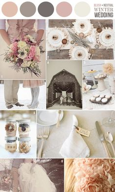 Hey Look - Event styling, design inspiration, DIY ideas and more: COLOR INSPIRATION - A BLUSH  NEUTRAL WINTER WEDDING