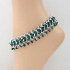 Emerald glass chainmaille anklet, $60.00
