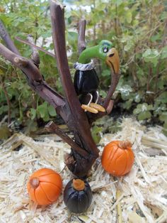 Vulture in Tree with 3 Miniature Pumpkins by FairyElements on Etsy