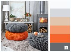 интерьер палитра оранжевый идея серый пуф гостиная Design Interior Orange Grey Knit Livingroom Palette