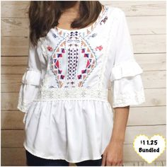 White Geometric Patterned Top Cute lightweight top. Zips from the side. Looks great with jeans! I am 5'3 and a size 2. This item is available. Don't forget to check out my Deal of the Month listing ! Tops Blouses