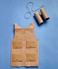 safari vest made from a paper grocery bag & safari binoculars made from toilet paper rolls