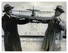 1930 Press Photo Alexander Kattreli and John Cariso holding a model of a plane