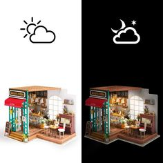 Robotime DIY Simon's Coffee with Furnitures Children Adult Miniature Wooden Doll House Model Building Kits Dollhouse Toys Dollhouse Toys, Wooden Dollhouse, Wooden Dolls, Dollhouse Miniatures, Dollhouse Furniture, Long Week-end, Model Building Kits, House Building, Model Kits