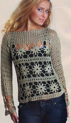 Fabulous Crochet a Little Black Crochet Dress Ideas. Georgeous Crochet a Little Black Crochet Dress Ideas. Pull Crochet, Crochet Motif, Crochet Designs, Free Crochet, Knit Crochet, Crochet Patterns, Crochet Tops, Black Crochet Dress, Crochet Jacket