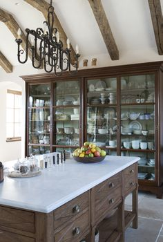 😍😍Love that large cupboard😍😍 This China Cabinet is an 11 foot antique hutch became an integral piece Kitchen TraditionalNeoclassical by Sarah Blank Design Studio Kitchen And Bath, New Kitchen, Kitchen Dining, Kitchen Decor, Kitchen Cabinets, China Cabinets, Kitchen Storage, Pantry Cabinets, Glass Front Cabinets