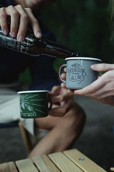These enamel cups are so cute! From http://unitedbyblue.com/collections/outdoor/products/wilderness-enamel-steel-mug.