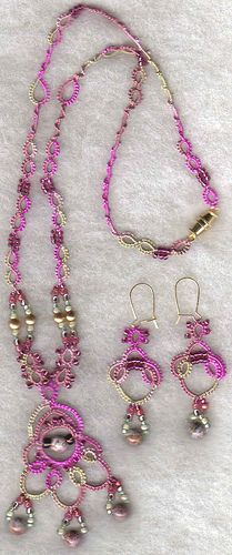 Tatted necklace and earring set ♥