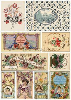 Calambour Mulberry Paper, just a quick cut with scissors or a tear near the edges of the images in before sticking it. Pattern: labels of vintage perfumes, 'eau de cologne', 'aux violettes de nice', 'savon', 'parfum'. Details: size 34,5x49,5 cm, printed on 20 g/mq Mulberry Paper PAU 27