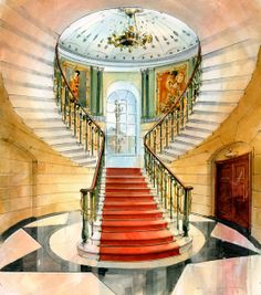 Architectural Perspective - Watercolour illustration Interior Staircase