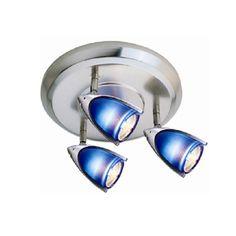 Jesco Lighting HT3138B 3 Light Spot Light with Metal Acorn Shades Satin Chrome Indoor Lighting Track Lighting Accent / Spot Lights