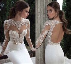 Vestidos De Noiva 2014 New Arrival Sexy Long Sleeves Sheer Lace Mermaid Wedding Dresses Satin Bridal Weddings & Events Gowns $169.00
