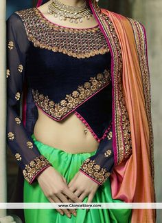 Voluptuous Green And Peach Patch Border Work Crepe Silk Half N Half Designer Saree