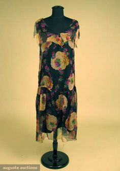 floral chiffon with asymmetric hem and gathered skirt.  augusta-auction.com