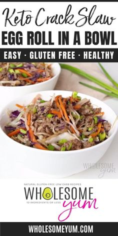 Keto Crack Slaw: Easy Egg Roll In A Bowl Recipe - For a fast, EASY keto dinner, try this keto crack slaw recipe. I'll show you how to make easy egg roll in a bowl in just 15 minutes, with simple ingredients! #wholesomeyum #keto #ketodinner #lowcarbrecipes Keto Veggie Recipes, Slaw Recipes, Low Carb Recipes, Real Food Recipes, Diet Recipes, Cooking Recipes, Healthy Recipes, Crack Slaw, Veggie Fries