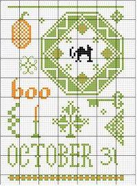 Quaker Boo! chart from The Sampler Girl