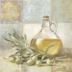 Danigo: Olive II Fertig-Bild 30x30 Wandbild Küche Esszimmer Deko Landhaus
