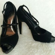 Black Suede Peep Toe Pumps - Joey O Black suede and patent leather accent peep toe strappy platform pumps from Joey O. Size 8 1/2 and used once. Great for an evening out paired with an elegant dress and clutch to complete the look! Usage is highlighted in the last photo. Comes without box from a smoke and pet free home. Bundle to save on shipping. Thanks for looking! Joey O Shoes Platforms