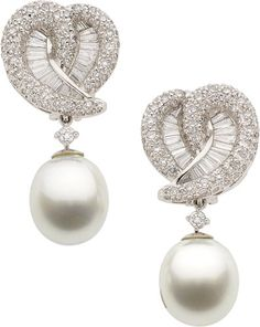 Fashion*Jewellery*Antique Rosamaria G Frangini Estate Jewelry:Earrings, Diamond, South Sea Cultured Pearl, Platinum Earrings. Platinum Earrings, Platinum Jewelry, Pearl Jewelry, Diamond Jewelry, Fine Jewelry, Chanel Jewelry, Diamond Pendant Necklace, Diamond Earrings, Pearl Earrings