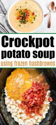 Creamy Crockpot potato soup with frozen hashbrowns is a cheap dinner with tons of flavor. Top with bacon and cheese for a killer meal. #crockpotpotatosoup #potatosoup #slowcookerpotatosoup Potato Soup With Bacon, Hashbrown Potato Soup Crockpot, Crock Pot Potato Soup, Quick Potato Soup, Frozen Hashbrown Recipes, Chicken Potato Soup, Potato Cheese Soups, Frozen Hashbrowns