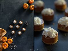 Styled mini pumpkin pies in a photo share for food photography.