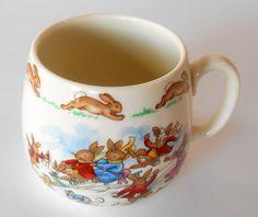 "Bunnykins Royal Doulton English China Cup ""Ice Cream Cart"" Nurseryware"